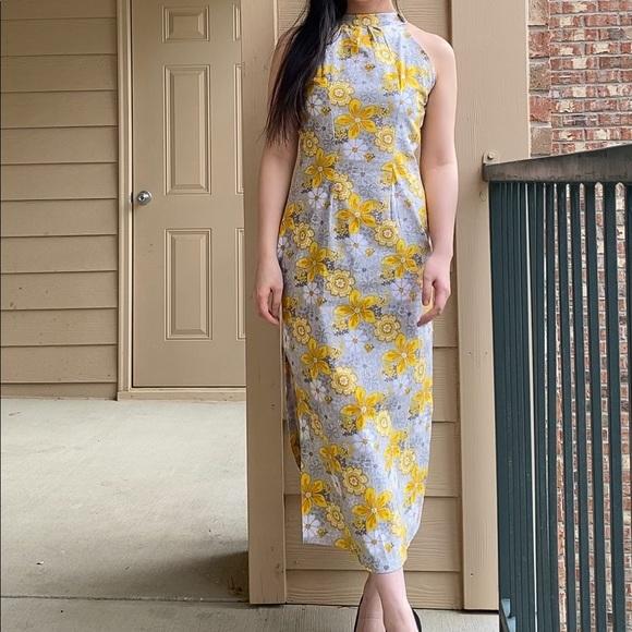 Handmade yellow floral halter midi dress XS